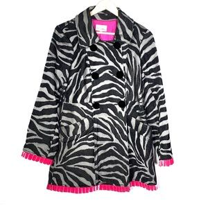 3 Sisters black and pink zebra striped coat